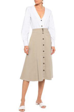 Iris & Ink Woman Liia Flared Cotton-blend Twill Midi Skirt Sand