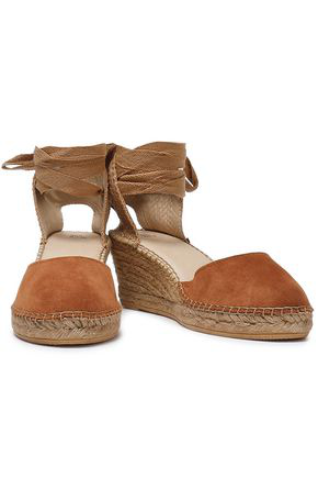 Iris & Ink Woman Suede And Canvas Wedge Espadrilles Tan