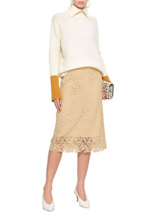 Joseph Woman Wini Guipure Lace Pencil Skirt Pastel Yellow
