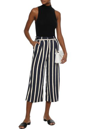 Iris & Ink Woman Faye Pleated Striped Stretch-crepe Culottes Navy