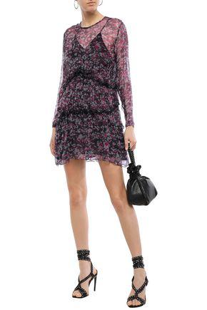 Iro Society Tiered Printed Georgette Mini Dress In Plum