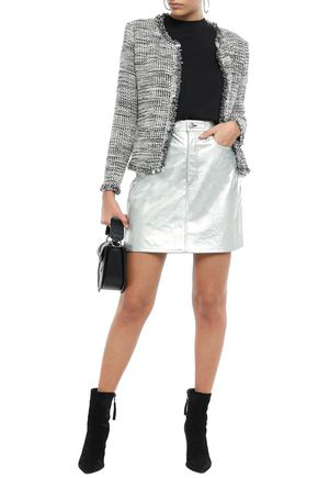 Iro Unplug Frayed Metallic BouclÉ-tweed Jacket In Gray