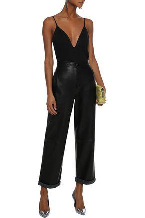 Iro Woman Itava Open-back Metallic Ribbed-knit Bodysuit Black