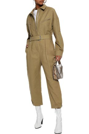 Iro Woman Belted Cropped Linen And Cotton-blend Canvas Jumpsuit Sand