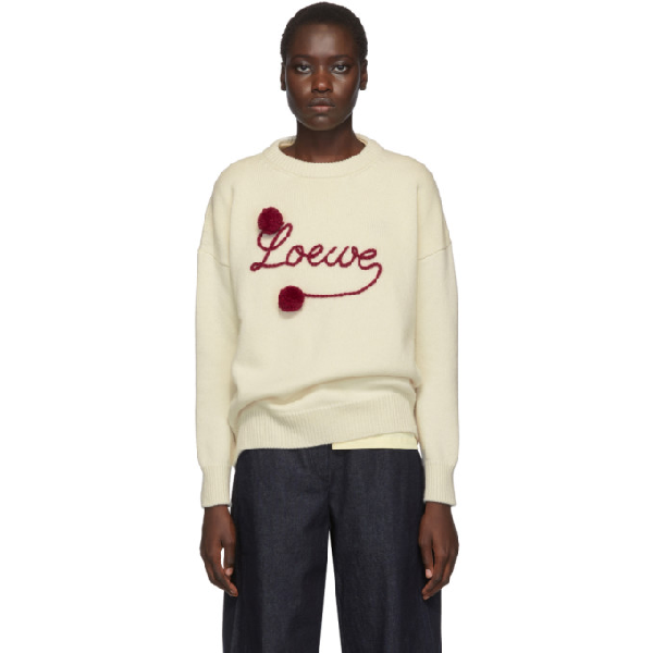 Loewe Brand-embroidered Relaxed-fit Wool Jumper In 2107 Whred