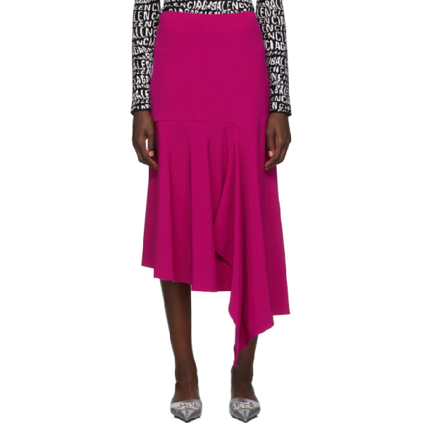 Balenciaga Asymmetric Wool-blend Midi Skirt In Fuchsia