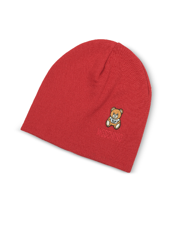 Moschino Toy Printed Beanie In Red
