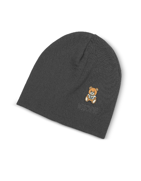 Moschino Toy Printed Beanie In Gray