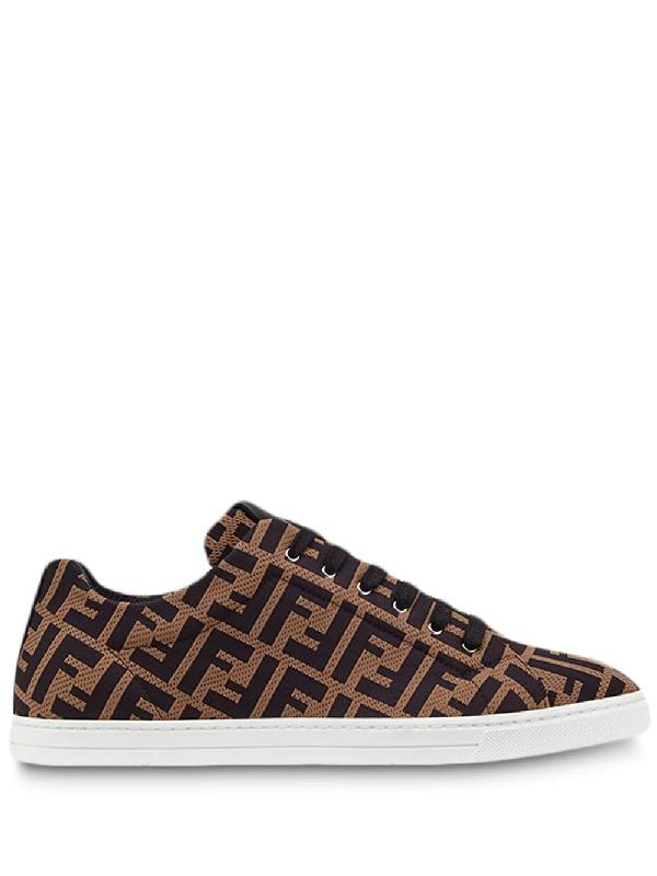 Fendi Leather-trimmed Logo-jacquard Mesh Sneakers In Brown ,black