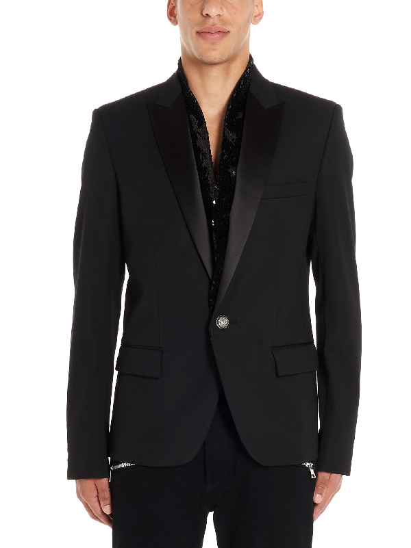 Balmain Single-breasted Cotton-blend Blazer In 176 Noir/ Black