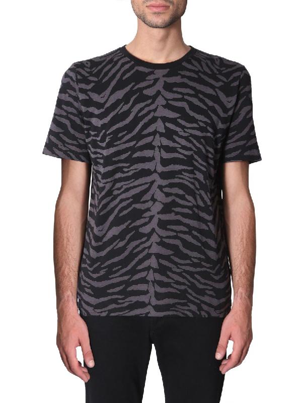 Saint Laurent Zebra-Print Cotton-Jersey T-Shirt In 1003 Noir/Gris Anthracite