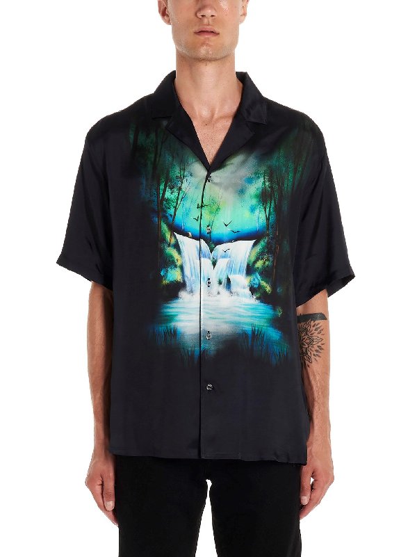 Off-white Waterfall-print Relaxed-fit Satin Shirt In Black