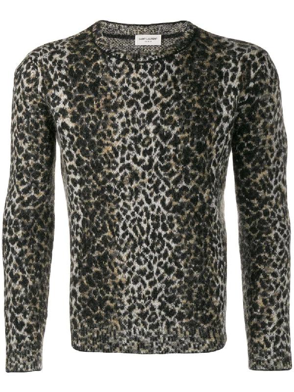Saint Laurent Wool Sweater With An Allover Leopard Jacquard In 9794 Beige Noir Marron