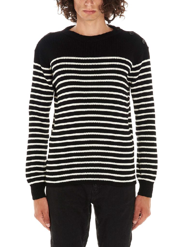 Saint Laurent Striped Wool And Cotton Sweater In White