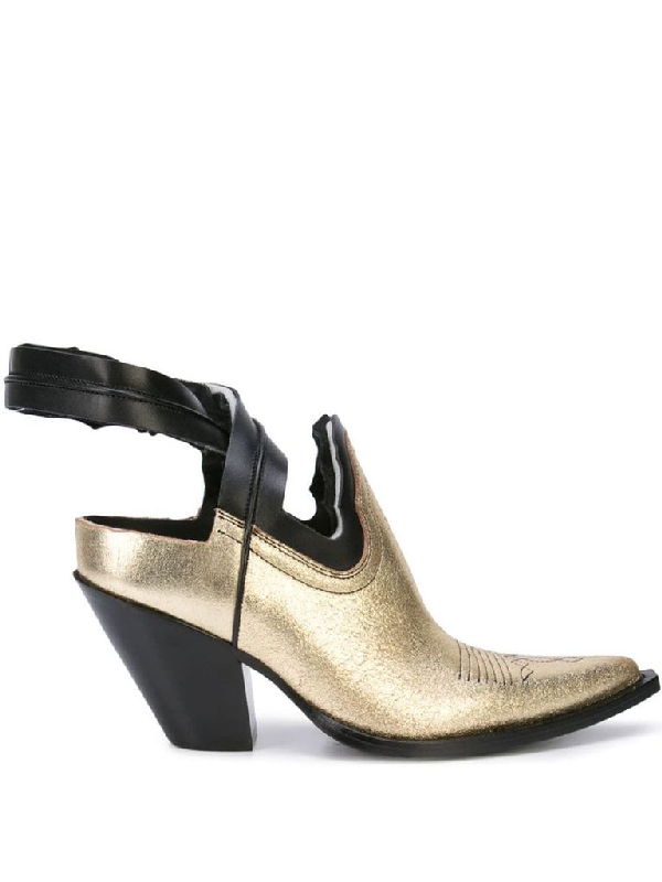 Maison Margiela Leather Boots In Gold