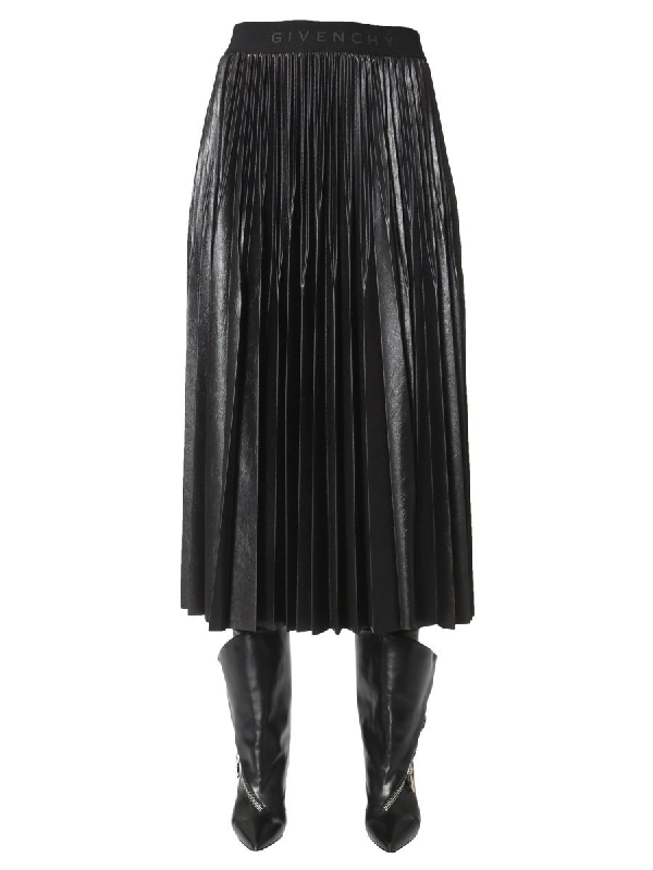 Givenchy Black Women's High Waisted Pleated Skirt In 001 Black