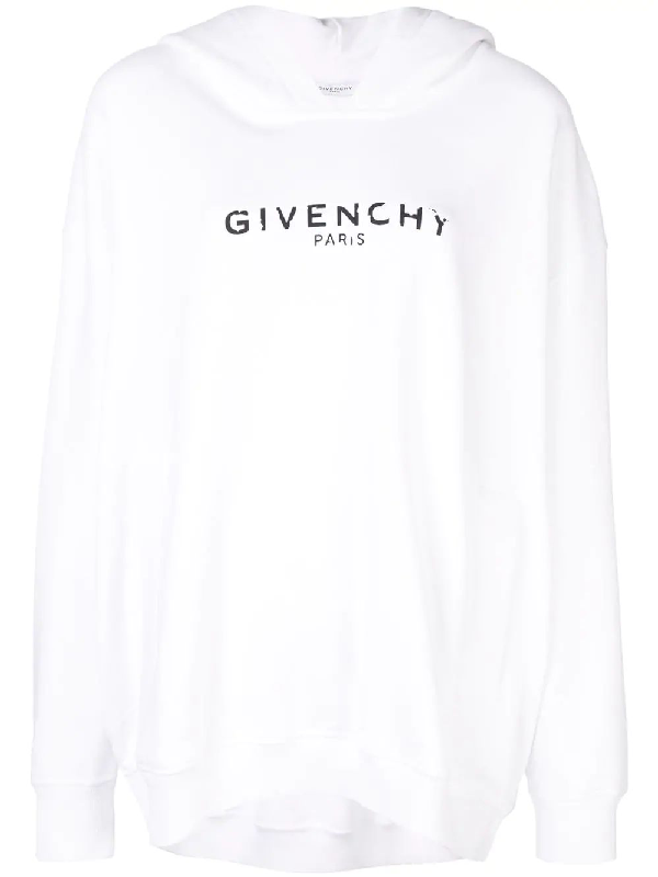 Givenchy Destroyed Logo Cotton Sweatshirt Hoodie In 100 White