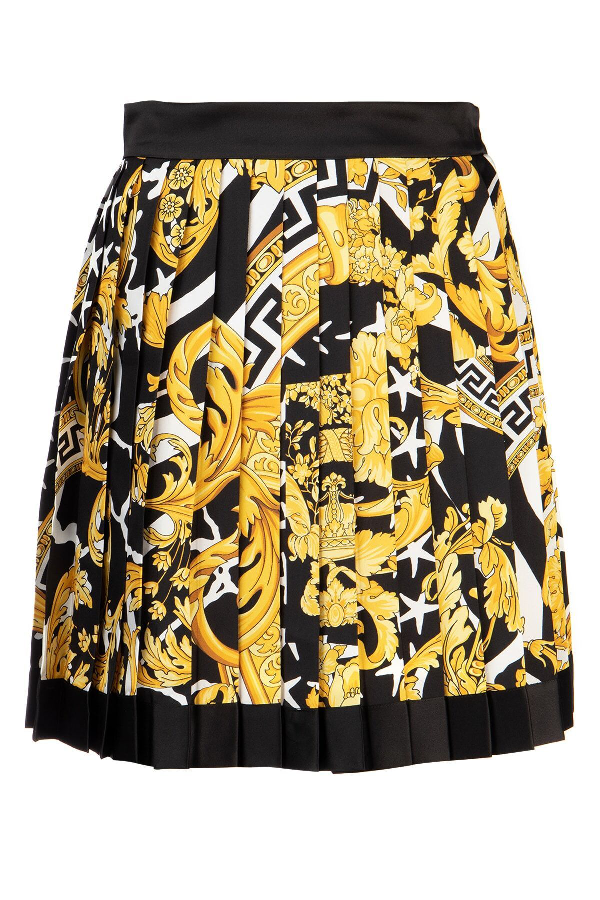 Versace Pleated Printed Silk-twill Mini Skirt In Yellow