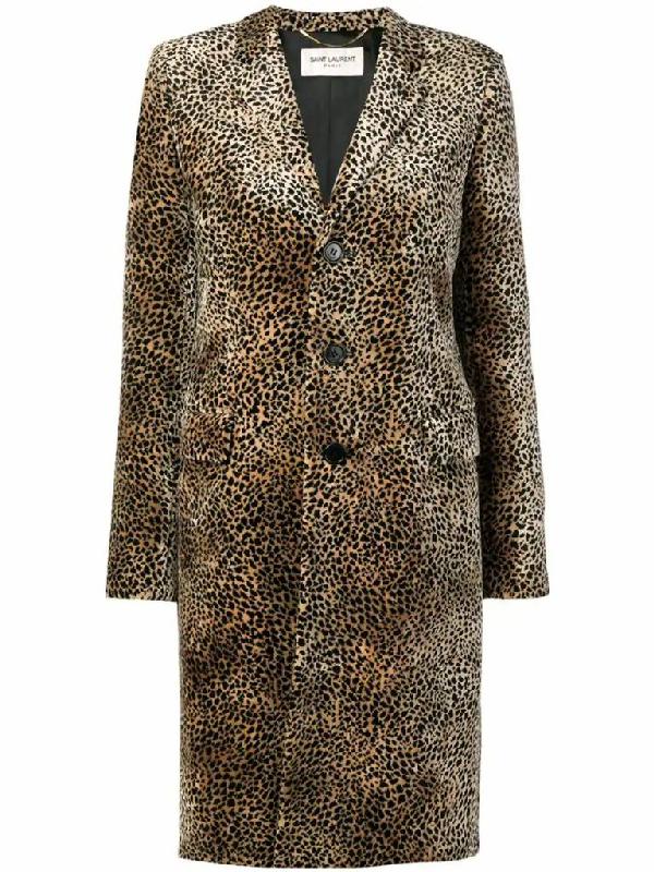 Saint Laurent Leopard-print Single-breasted Velvet Coat In Beige