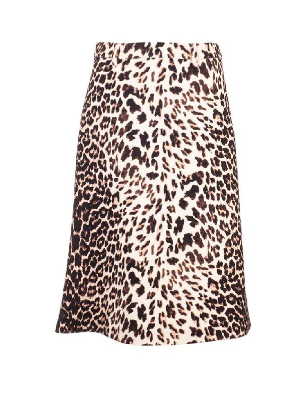 Prada Virgin Wool Gabardine Midi Skirt In Neutrals