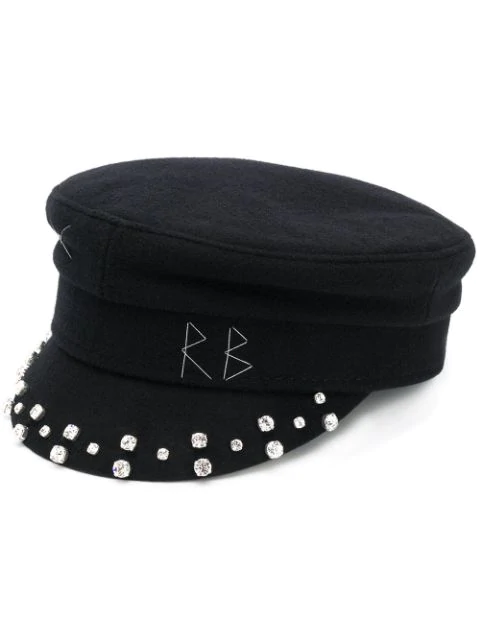Ruslan Baginskiy Crystal-encrusted Baker Boy Cap In Black