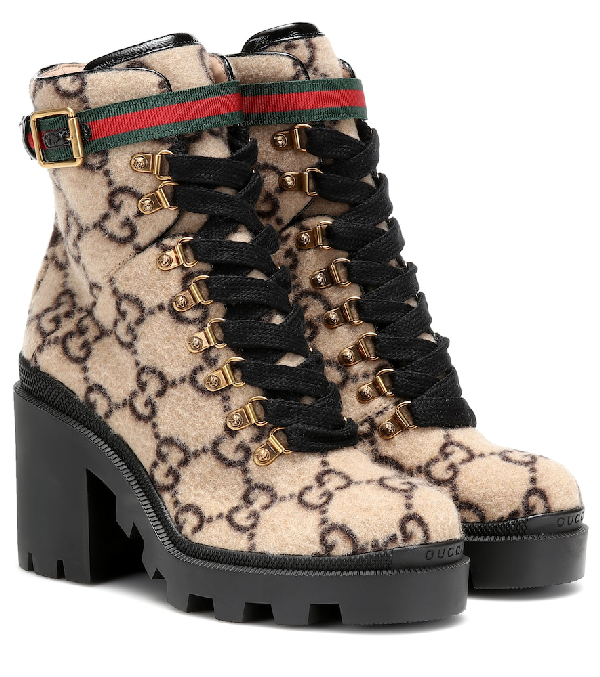 Gucci Lace Up Ankle Boots Trip Boot Felt Logo Beige-Combo Black