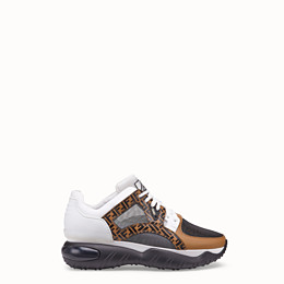 Fendi Exaggerated-sole Leather And Mesh Trainers In White