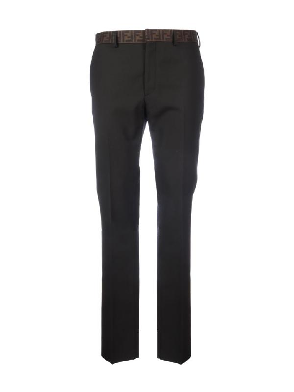 Fendi Pants Canv Logo On The Belt In Black
