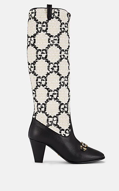 Gucci 75Mm Zumi Gg BouclÉ & Leather Tall Boots In Black