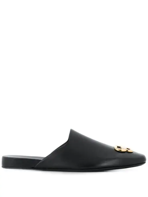 Balenciaga Bb-logo Square-toe Backless Leather Loafers In Black