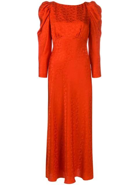 Saloni Puff Sleeve Jacquard Satin Midi Dress In Orange