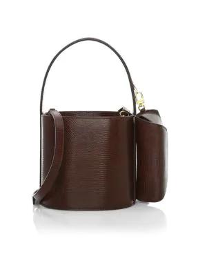 Staud Bissett Lizard-embossed Leather Bucket Bag In Brown