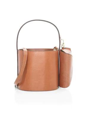 Staud Bissett Lizard-embossed Leather Bucket Bag In Tan
