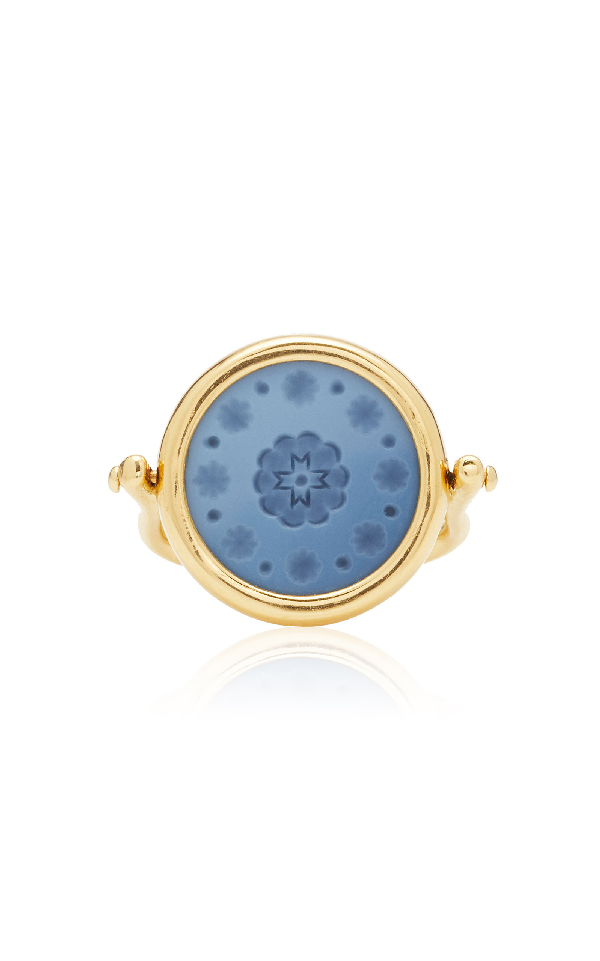 Ashley Mccormick 18K Gold And Agate Ring In Blue