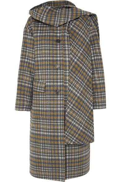 Andersson Bell Sophia Hooded Checked Wool-blend Coat In Gray