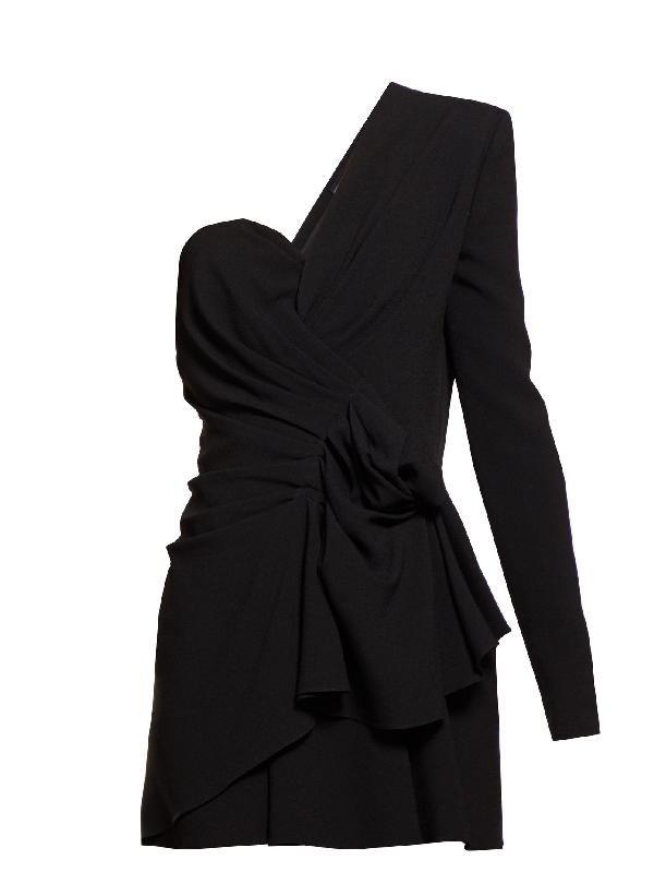 Saint Laurent Asymmetric Gathered Crepe Mini Dress In Black