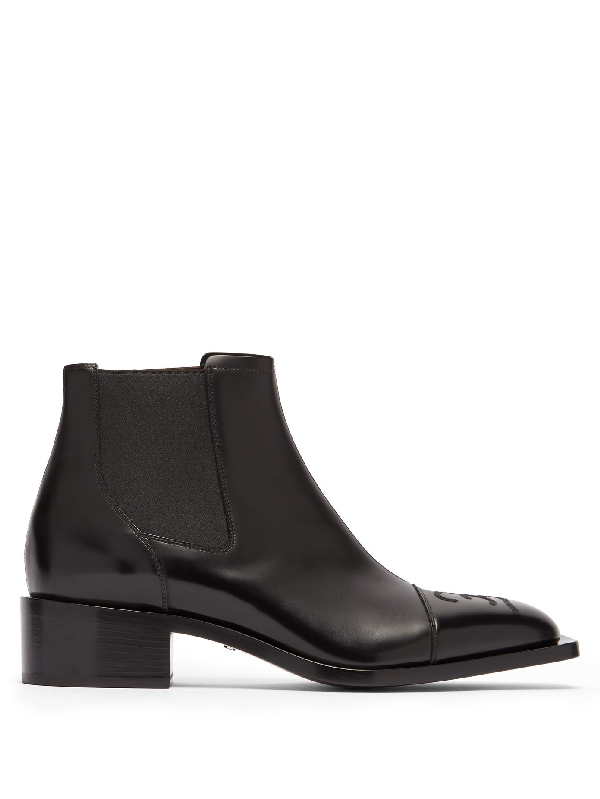 Fendi Men's Embroidered Ff Logo Leather Chelsea Boots In Black