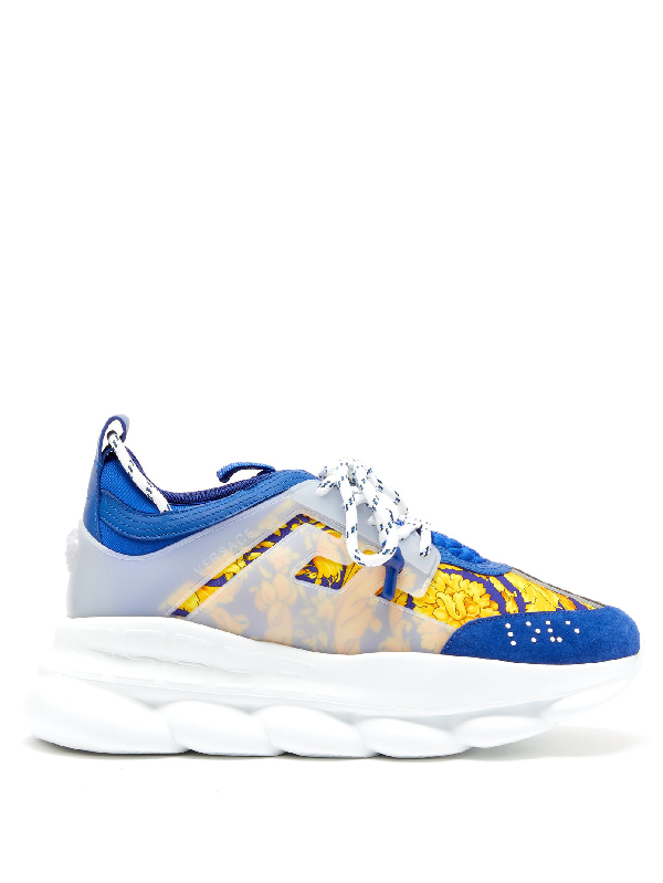 Versace Chain Reaction Heritage Baroque Sneakers In Blue Multi