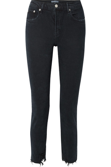 Agolde Toni Distressed Mid-rise Straight-leg Jeans In Black
