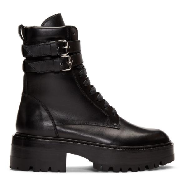 Amiri Double-buckle Combat Boots In Black