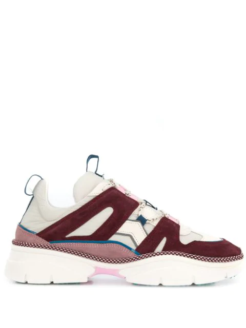 Isabel Marant Kindsay Shell And Suede Low-Top Trainers In Neutrals