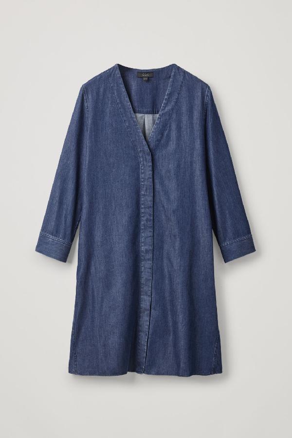 Cos V-neck Denim Dress In Blue