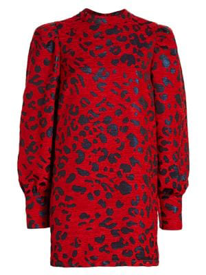 Andamane Baylee Leopard Jacquard Mini Dress In 804 Leo Rosso E Blu