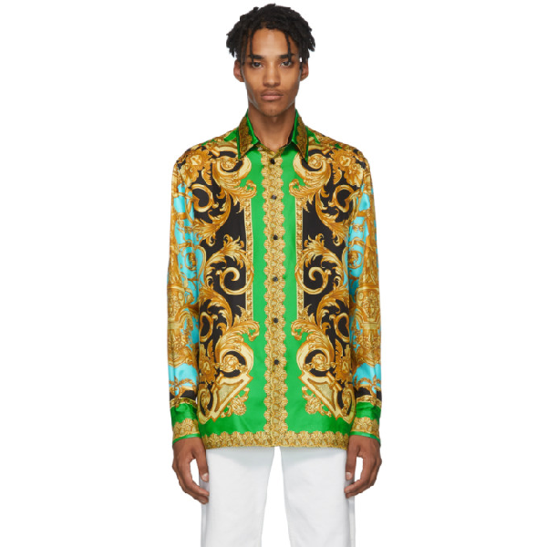 Versace Green & Blue Silk Barocco Homme Shirt In A78y Verazu