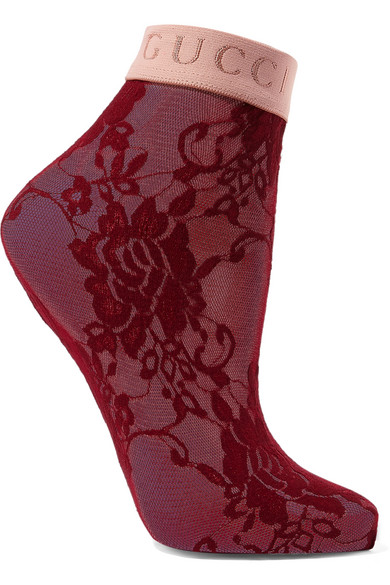Gucci Floral Lace Ankle Socks In Red
