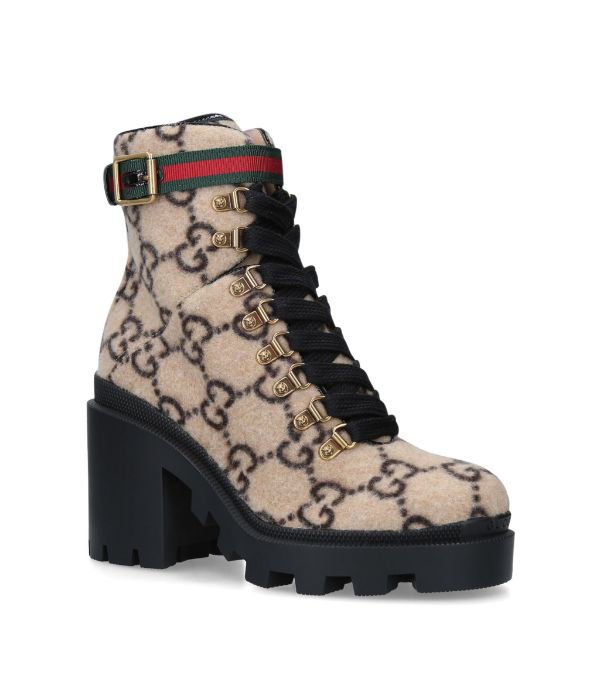 Gucci Lug Soled Heeled Ankle Boot In Gg Wool In Beige/ebony