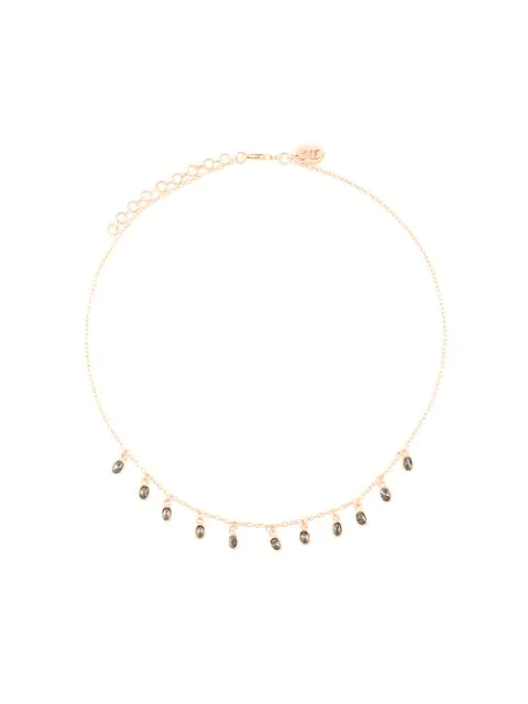 Maha Lozi Fire And Rain Necklace In Black Stones On Rose