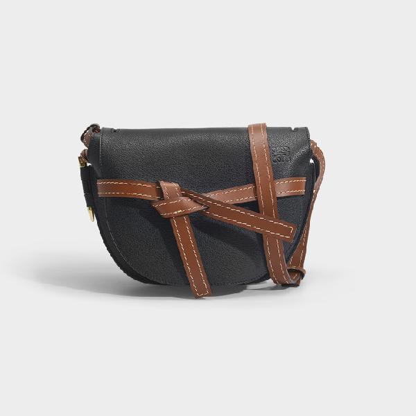 Loewe Gate Small Textured-leather Shoulder Bag In Black