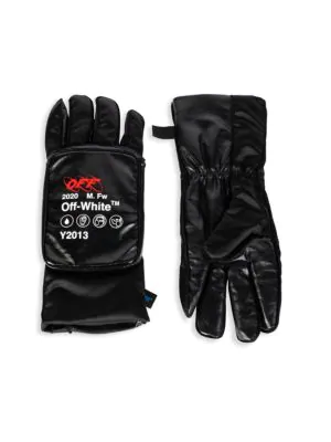 Off-White Logo Pouch Gloves In Black White