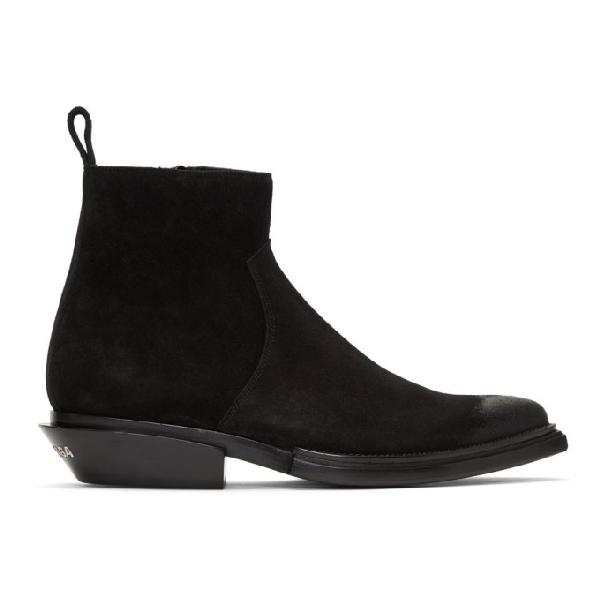 Balenciaga Santiag High Heels Ankle Boots In Black Suede